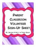 Classroom Volunteer Sign-Up