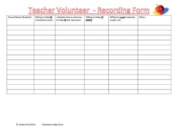 Classroom Volunteer Sign Up with Teacher Recording Form