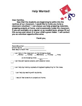 Classroom Volunteer Survey Letter, editable