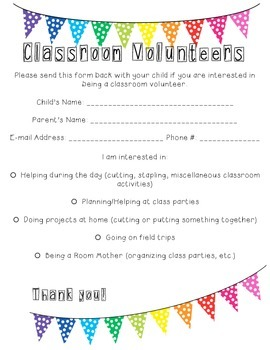 Classroom Volunteers Form