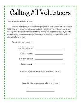 Classroom Volunteers Needed Letter to Parents