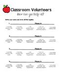 Classroom Volunteers Sign Up Sheet