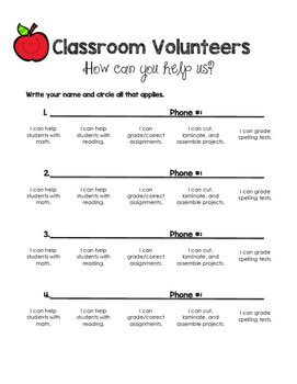 Classroom Volunteers Sign Up Sheet