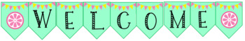 Classroom WELCOME sign- Pink, Mint and Yellow Lemons
