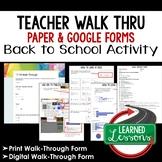 Classroom Walk Through Print and Google Form Teacher PD Series