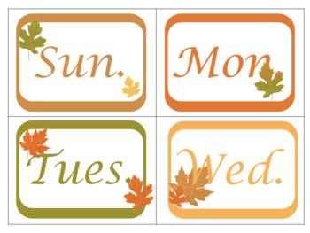 Classroom Wall Calendar pieces- Autumn Fall Burlap Theme 2017 2018 2019