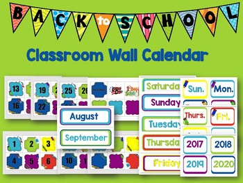 Classroom Wall Calendar pieces- Kids Back to School Theme 2017 2018 2019 2020