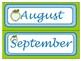 Classroom Wall Calendar pieces- Lime Green Apple Theme- Back to school