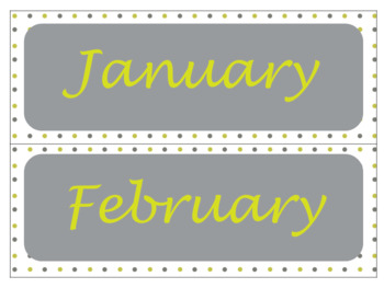 Classroom Wall Calendar pieces- Lime Green and Grey 2017 2018 2019