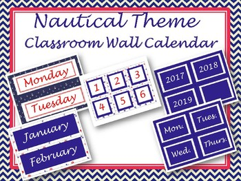 Classroom Wall Calendar pieces- Nautical Themed 2017 2018 2019