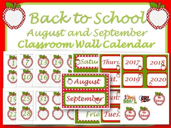 Classroom Wall Calendar pieces- Red Apple Theme- Back to school
