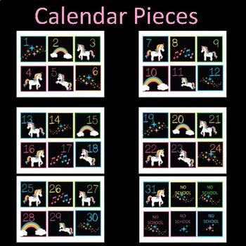 Classroom Wall Calendar pieces-Unicorns and Rainbows Magical Fantasy