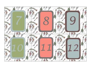 Classroom Wall Calendar pieces- Wild at Heart Boho Themed 2017 2018 2019