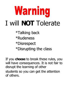 Classroom Warning Sign