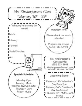 Classroom Weekly Newsletter