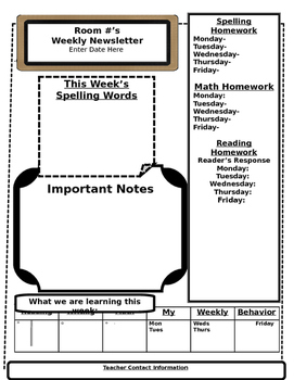 Classroom Weekly Newsletter