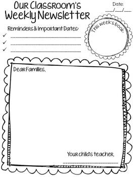 Classroom Weekly Newsletter - 6 Simple Templates