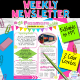 Classroom Weekly Newsletter Template EDITABLE | Parent Communication