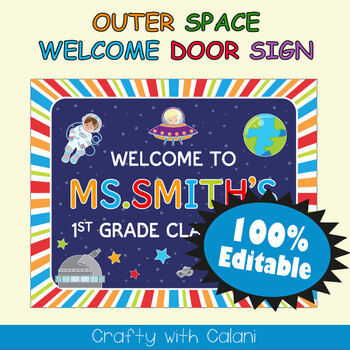 Classroom Welcome Door Sign in Outer Space Theme - 100% Editable