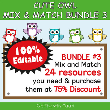 Classroom Welcome Door Sign in Owl Theme - 100% Editable