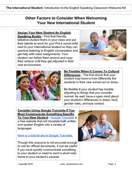 Newcomers Classroom Welcome Kit for International and ESL Students