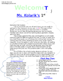 Classroom Welcome Letter