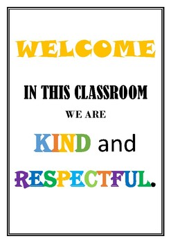 Classroom Welcome Poster
