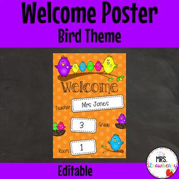 Classroom Welcome Poster {Birds} **Editable
