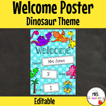 Classroom Welcome Poster {Dinosaurs} **Editable