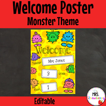 Classroom Welcome Poster {Monsters} **Editable