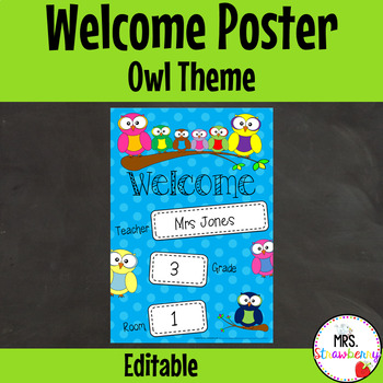 Classroom Welcome Poster {Owl Theme} **Editable**