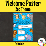 Classroom Welcome Poster {Zoo Animals} Jungle **Editable
