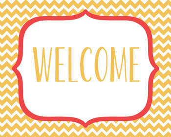Classroom Welcome Sign Chevron Red and Orange Poster