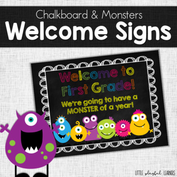 Classroom Welcome Signs: Bright Colors & Monsters