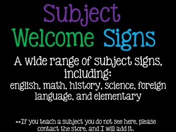 Classroom Welcome Signs (Multiple Subjects)