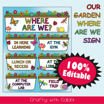 Classroom Where Are We Door Sign in Flower & Bugs Theme - 100% Editble