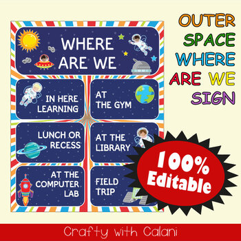 Classroom Where Are We Door Sign in Outer Space Theme - 100% Editable