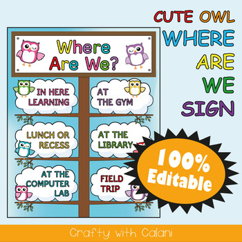 Classroom Where Are We Door Sign in Owl Theme - 100% Editable