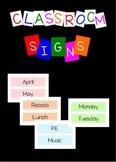 Classroom schedule signs