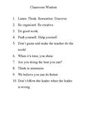 Classroom Wisdom