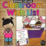 Classroom Wish List CUPCAKES, Meet the Teacher, Back to School