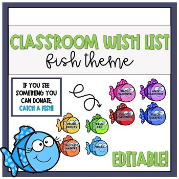 Classroom Wish List (Fish) - Editable