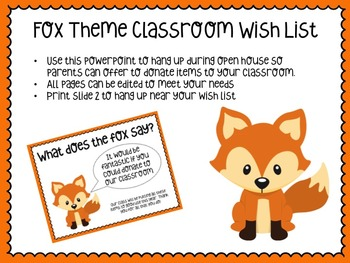 Classroom Wish List-Fox Theme-Back to school-classroom supplies