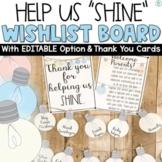Classroom Wish List Light Bulbs | Editable
