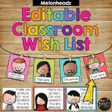 Classroom Wish List EDITABLE Bright Polka Dots, Meet the Teacher, Melonheadz