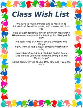 Classroom Wish List Poster