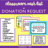 Classroom Wish List or Donation Request