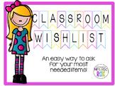 Classroom Wishlist Banner for Back to School *Editable*