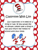 Classroom Wishlist Thing One & Thing Two