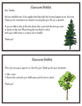 Classroom Wishlist Tree Theme Free!